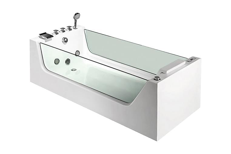 Bathlife Flit Boblebadekar 1 Person - Hvit/Glass - Baderom - Badekar - Boblebad og massasjebadekar