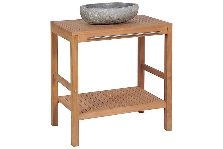 Baderomshylle heltre teak med vaskeskål av elvestein - Baderom - Baderomsmøbler - Baderomsskap
