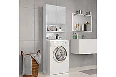 Vaskemaskinskap høyglans hvit 64x25,5x190 cm sponplate