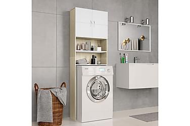 Vaskemaskinskap hvit og sonoma eik 64x25,5x190 cm sponplate