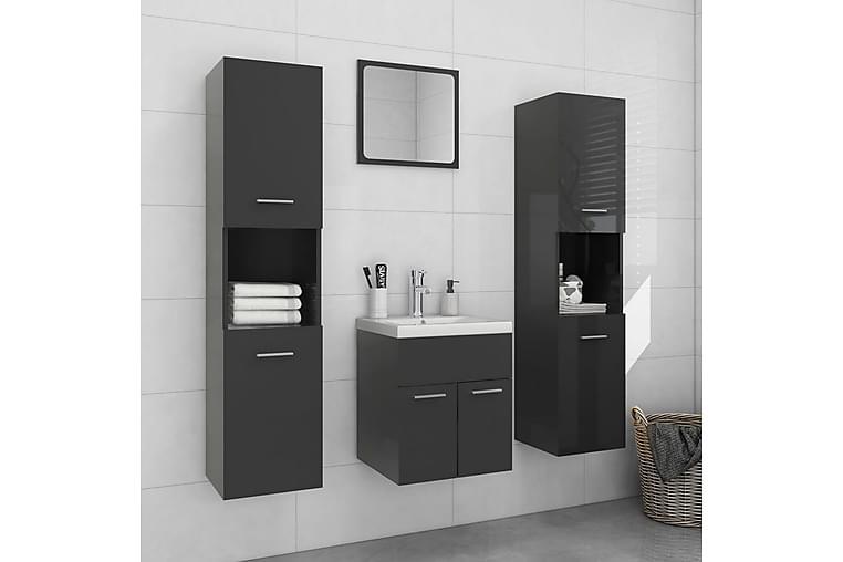 Baderomsmøbelsett høyglans grå sponplate - Baderom - Baderomsmøbler - Komplette møbelpakker
