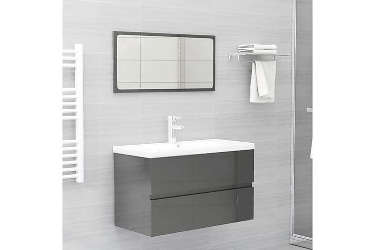 Baderomsmøbelsett høyglans grå sponplate - Grå - Baderom - Baderomsmøbler - Komplette møbelpakker
