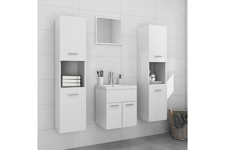 Baderomsmøbelsett høyglans hvit sponplate - Hvit - Baderom - Baderomsmøbler - Komplette møbelpakker