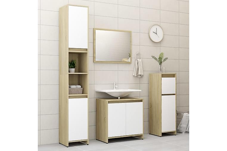 Baderomsmøbler 3 deler hvit og sonoma eik sponplate - Baderom - Baderomsmøbler - Komplette møbelpakker