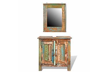Kabinettskap med speil av gjenvunnet tre