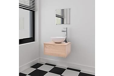 Servant og baderomsmøbler 3 deler beige