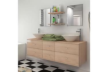 Servant og baderomsmøbler 7 deler beige