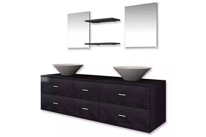 Servant og baderomsmøbler 7 deler svart - Baderom - Baderomsmøbler - Komplette møbelpakker