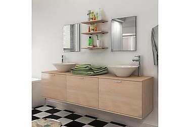 Servant og baderomsmøbler 8 deler beige