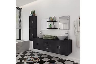 Servant og baderomsmøbler 9 deler svart
