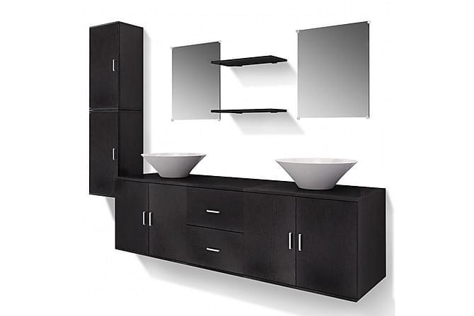 Servant og baderomsmøbler 9 deler svart - Baderom - Baderomsmøbler - Komplette møbelpakker