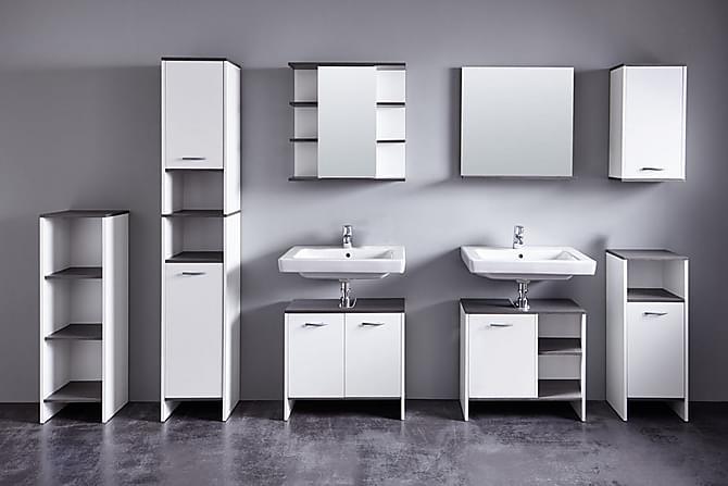 Merice Hylle 32 cm - Hvit/Sølvgrå - Baderom - Baderomsmøbler - Oppbevaring til baderom