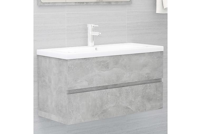Servantskap betonggrå 90x38,5x45 cm sponplate - Grå - Baderom - Baderomsmøbler - Servantskap & kommode