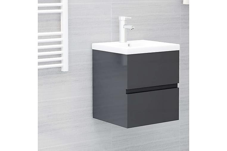 Servantskap høyglans grå 41x38,5x45 cm sponplate - Grå - Baderom - Baderomsmøbler - Servantskap & kommode