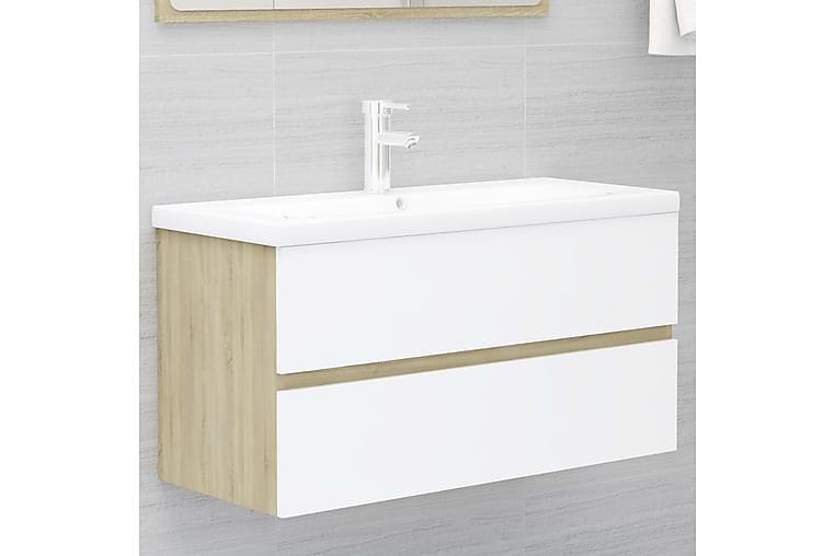 Servantskap hvit og sonoma eik 90x38,5x45 cm sponplate - Beige - Baderom - Baderomsmøbler - Servantskap & kommode