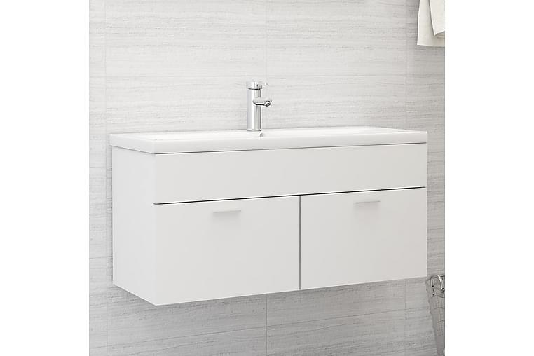 Servantskap med innebygd vask hvit sponplate - Hvit - Baderom - Baderomsmøbler - Servantskap & kommode