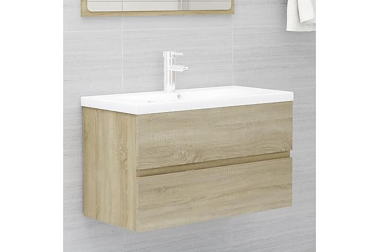 Servantskap med innebygd vask sonoma eik sponplate - Brun - Baderom - Baderomsmøbler - Servantskap & kommode