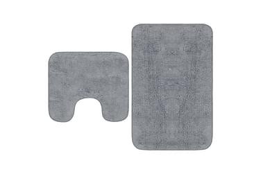 Baderomsmattesett 2 stk stoff grå