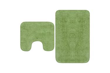Baderomsmattesett 2 stk stoff grønn