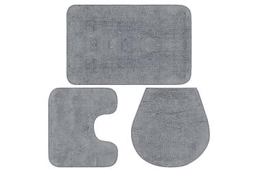 Baderomsmattesett 3 stk stoff grå