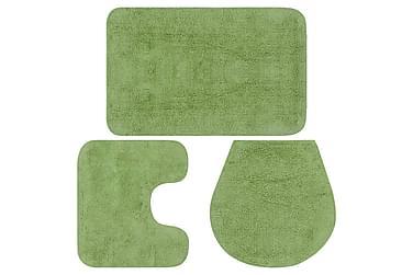Baderomsmattesett 3 stk stoff grønn
