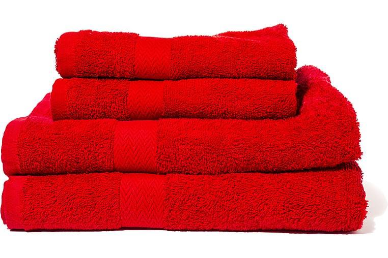 Queen Anne Frottesett 2 stk 50x30 cm+2 stk 130x65 cm - Rød - Baderom - Tekstiler baderom - Håndklær