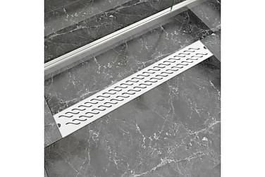 Lineær Dusjavløp Bølge 830x140 mm Rustfritt stål