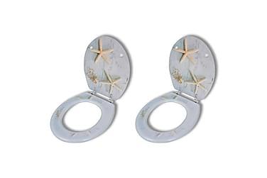 Toalettsete med hard lukkefunksjon 2 stk MDF sjøstjerne