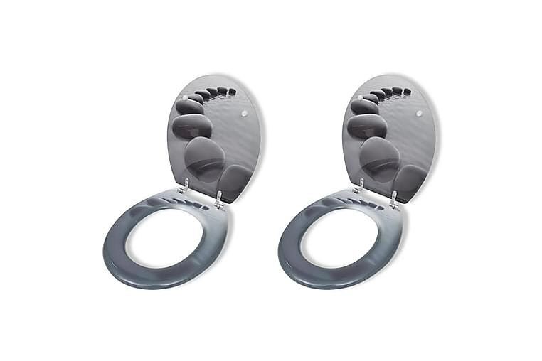 Toalettsete med hard lukkefunksjon 2 stk MDF steiner