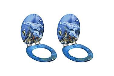 Toalettsete med myk lukkefunksjon 2 stk MDF delfindesign