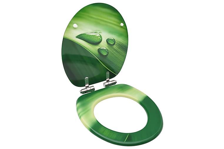 Toalettsete med myk lukkefunksjon MDF grønn vanndråpe-design - Baderom - Baderomstilbehør - Toalettseter
