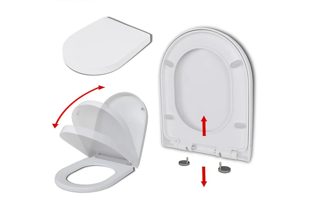 Toalettsete med soft-close og hurtigfeste hvit firkantet - Baderom - Baderomstilbehør - Toalettsete
