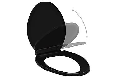 Toalettsete med soft-close og hurtigfeste svart