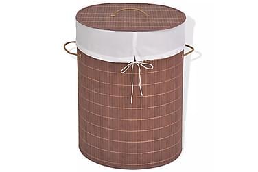 Skittentøyskurv bambus oval brun