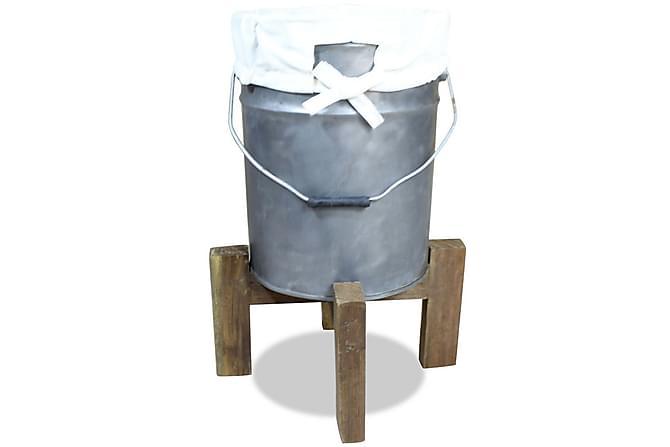 Skittentøyskurv galvanisert jern gjenvunnet heltre 30x30x58 - Baderom - Baderomstilbehør - Vaskekurv