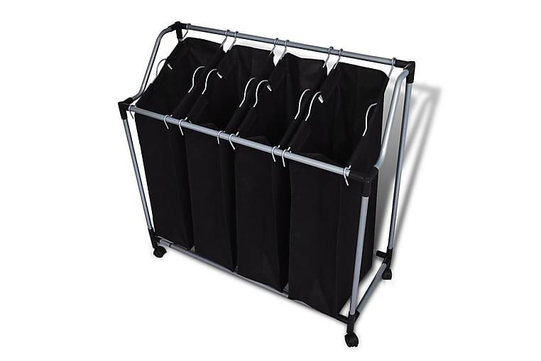 Skittentøyskurv med fire poser svart grå