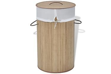 Skittentøyskurv rund bambus naturell