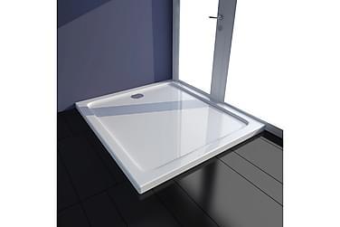 Rektangulær ABS Dusjplate/bunn hvit 80 x 90 cm