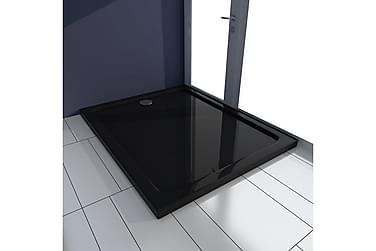 Rektangulær ABS Dusjplate/bunn svart 80 x 100 cm