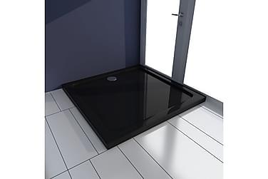 Rektangulær ABS Dusjplate/bunn svart 80 x 80 cm