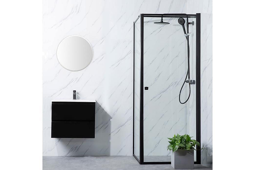 Dusjhjørne Bathlife Profil Rett vegg 900 + Rett dør 900 - Svart - Baderom - Dusjer - Dusjvegger