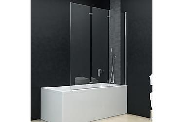 Leddet dusjdør med 3 paneler ESG 130x138 cm