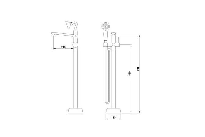 Clover Frittstående Bad- og Dusjblandebatteri - Baderom - Dusjutstyr - Dusjmunnstykke