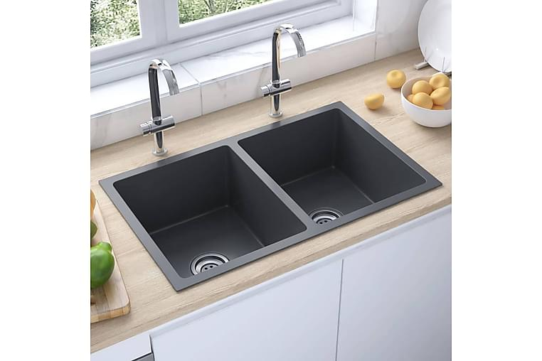 Håndlaget kjøkkenvask med sil svart rustfritt stål - Svart - Baderom - Servant og håndvask - Enkel vask