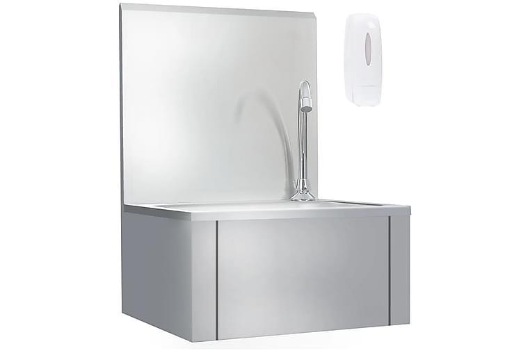 Håndvask med kran og såpedispenser rustfritt stål - Silver - Baderom - Servant og håndvask - Enkel vask