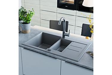 Kjøkkenvask dobbel kum granitt grå
