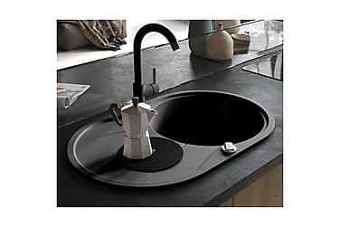 Kjøkkenvask i granitt enkel kum oval svart