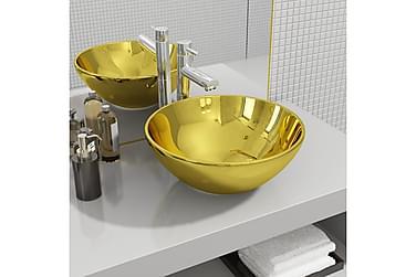 Vask 32,5x14 cm keramikk gull