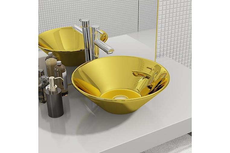 Vask 42x14 cm keramikk gull - Baderom - Servant og håndvask - Enkel vask