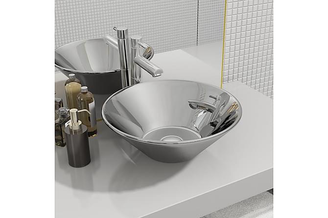Vask 42x14 cm keramikk sølv - Baderom - Servant og håndvask